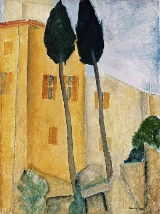 Amedeo-Modigliani-Cypress-Trees-and-House